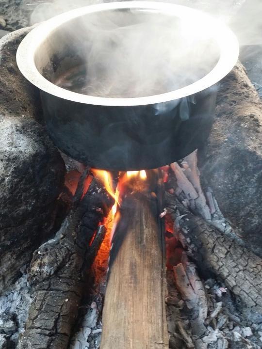 Hot tea on bon fire!