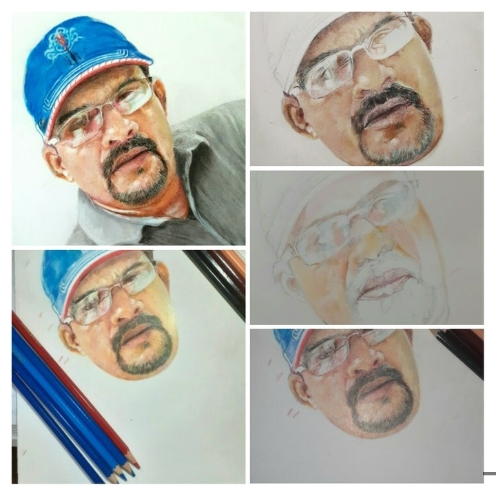Step by step portrait bn painting