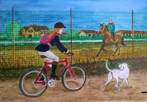 di corsa alla lezione di equitazione