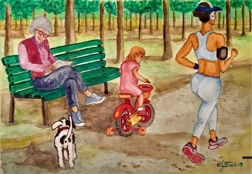 tre donne e una cagnolina